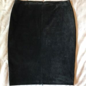 Danier black super soft suede pencil skirt